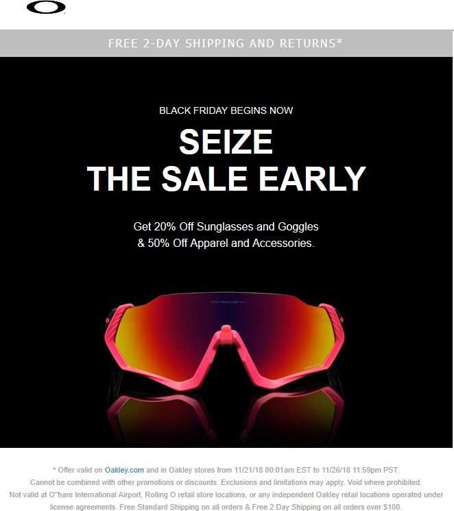 Oakley Coupon November 2019 20-50% off at Oakley, ditto online