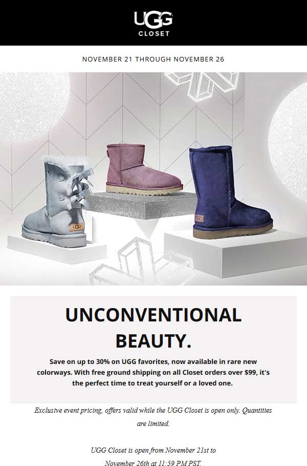 UGG Closet Coupon October 2019 30% off boot favorites online at UGG Closet