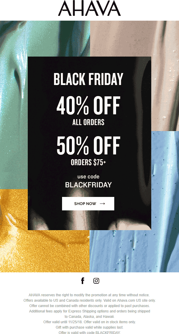 AHAVA Coupon May 2019 40-50% off online at AHAVA via promo code BLACKFRIDAY