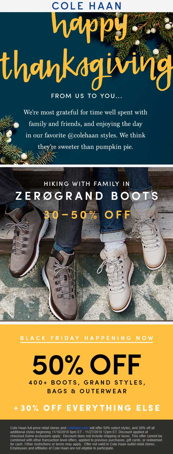Cole Haan Coupon January 2020 30-50% off everything at Cole Haan, ditto online