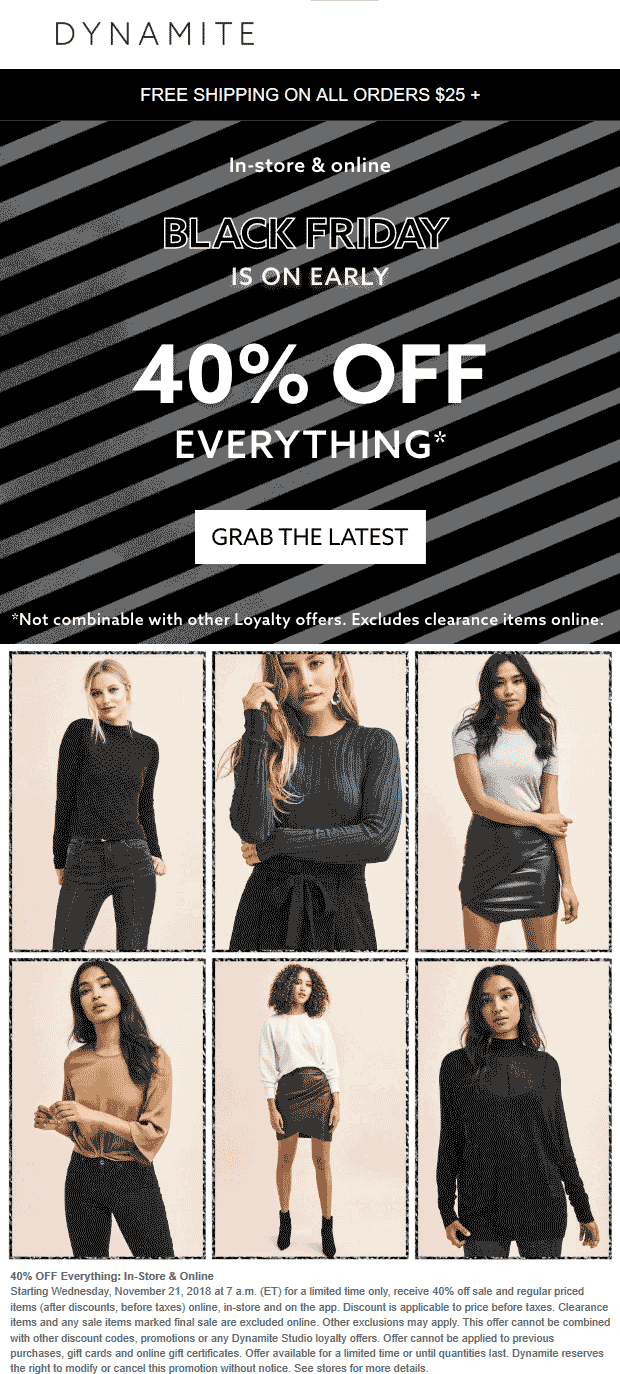 Dynamite Coupon May 2019 40% off everything at Dynamite, ditto online