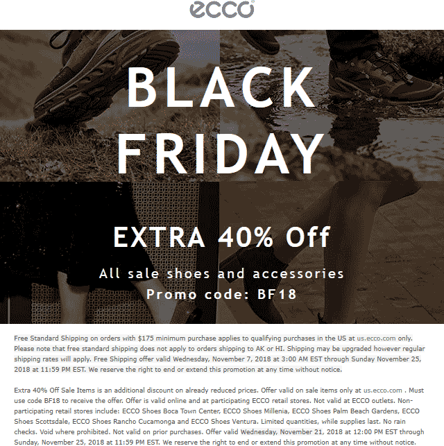 Ecco Coupon July 2019 Extra 40% off sale items online at Ecco via promo code BF18