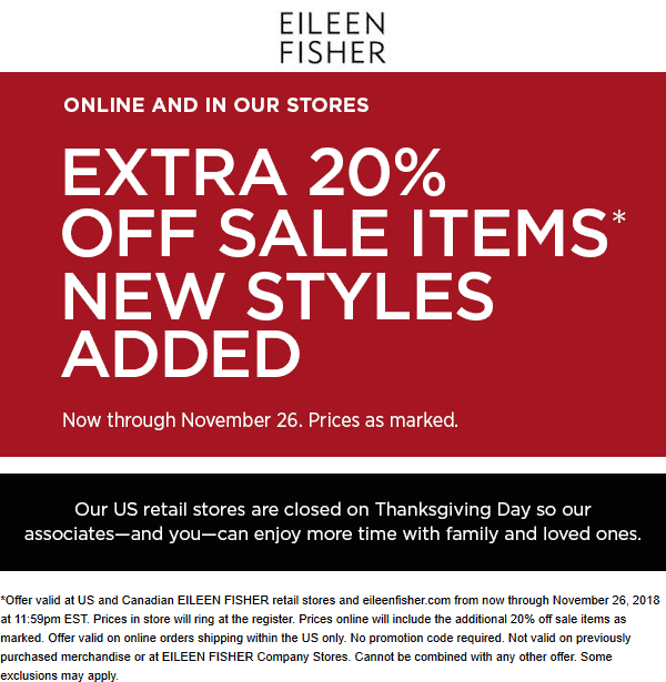 Eileen Fisher Coupon May 2019 Extra 20% off sale items at Eileen Fisher, ditto online