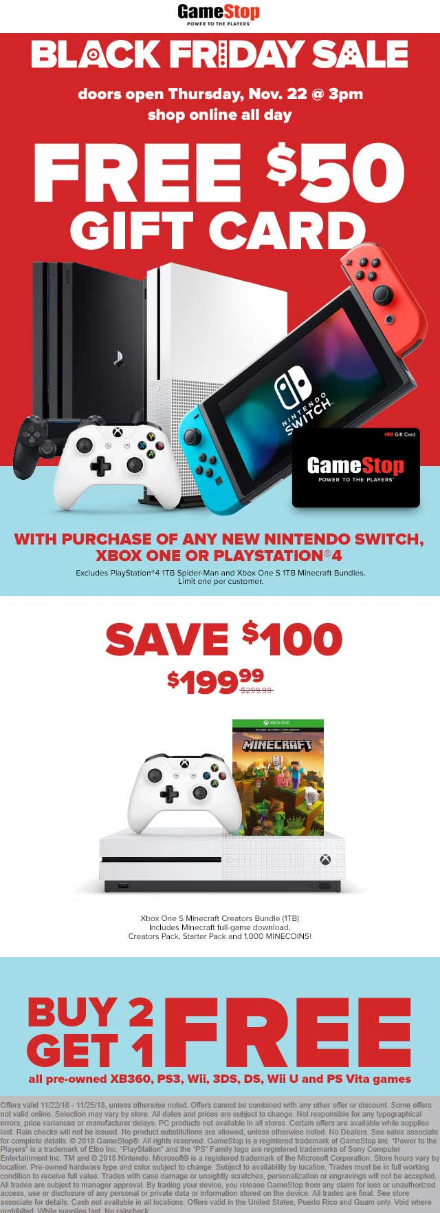 GameStop Coupon January 2020 Free $50 gift card with your console & $199 Xbox One S Minecraft at GameStop, ditto online