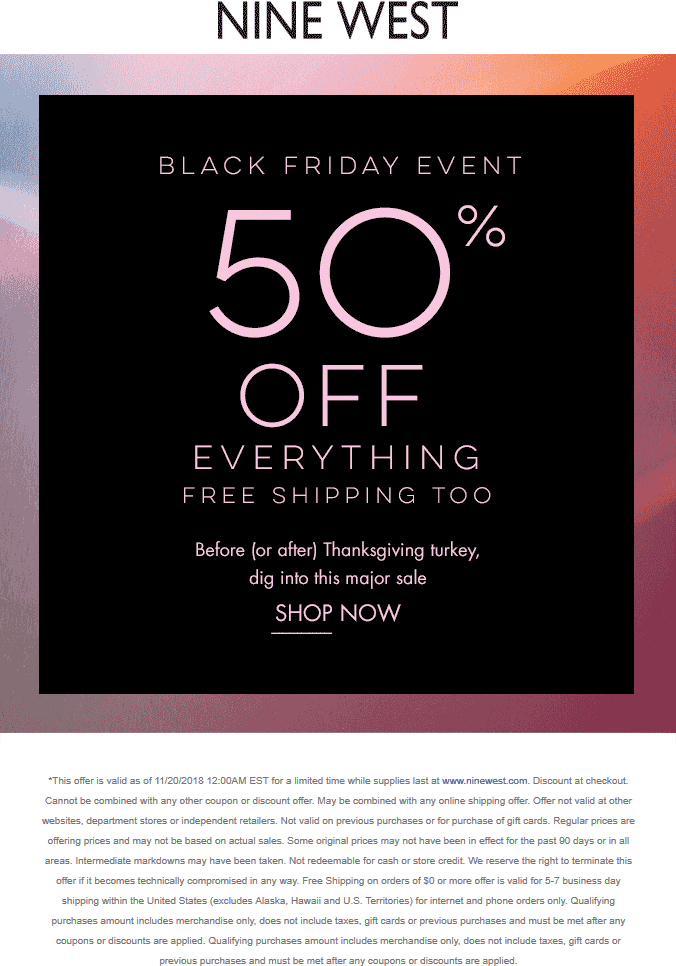 NineWest.com Promo Coupon 50% off everything online at Nine West