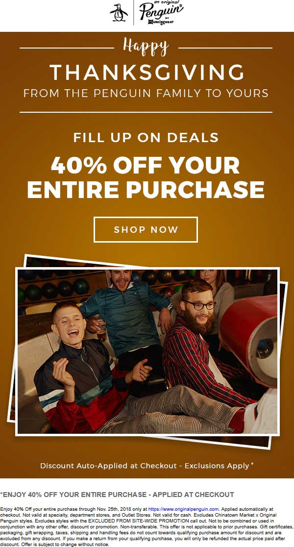Original Penguin Coupon September 2019 40% off everything online at Original Penguin
