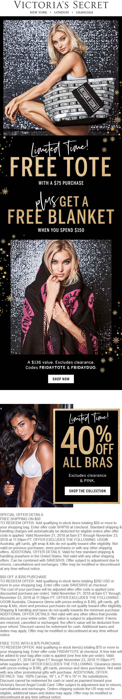 Victorias Secret Coupon May 2019 40% off bras at Victorias Secret