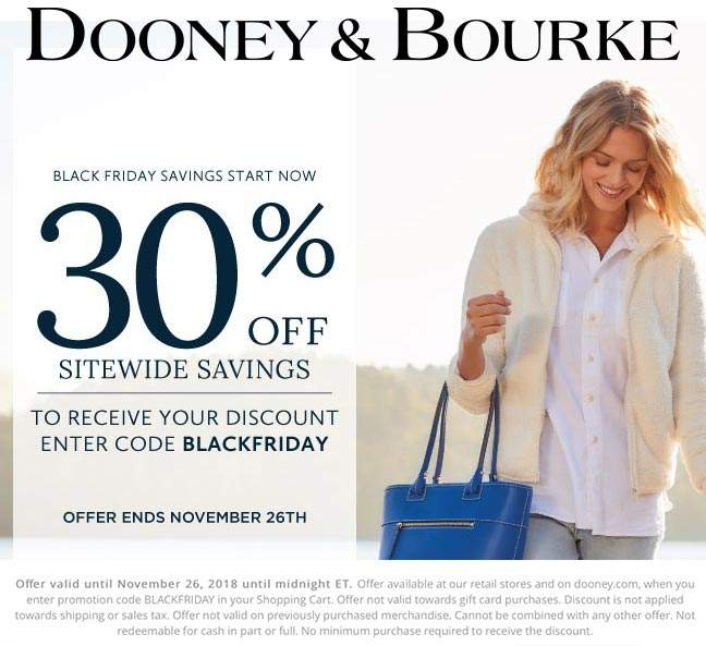 Dooney & Bourke Coupon January 2020 30% off everything at Dooney & Bourke, or online via promo code BLACKFRIDAY