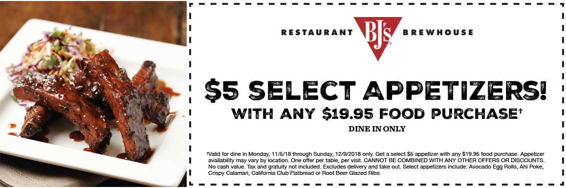 BJs Restaurant Coupon November 2019 $5 appetizers at BJs Restaurant brewhouse