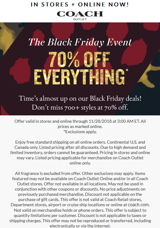 Coach Outlet Coupon March 2019 70% off everything at Coach Outlet, ditto online