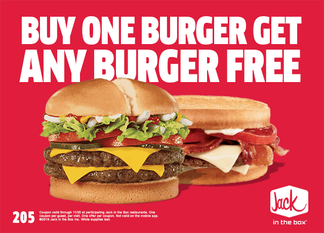 Jack in the Box Coupon June 2019 Second burger free at Jack in the Box restaurants
