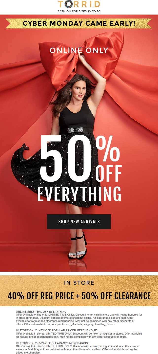 Torrid Coupon May 2019 40-50% off everything at Torrid, ditto online