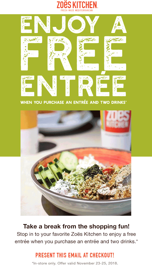 ZoesKitchen.com Promo Coupon Second entree free at Zoes Kitchen Mediterranean