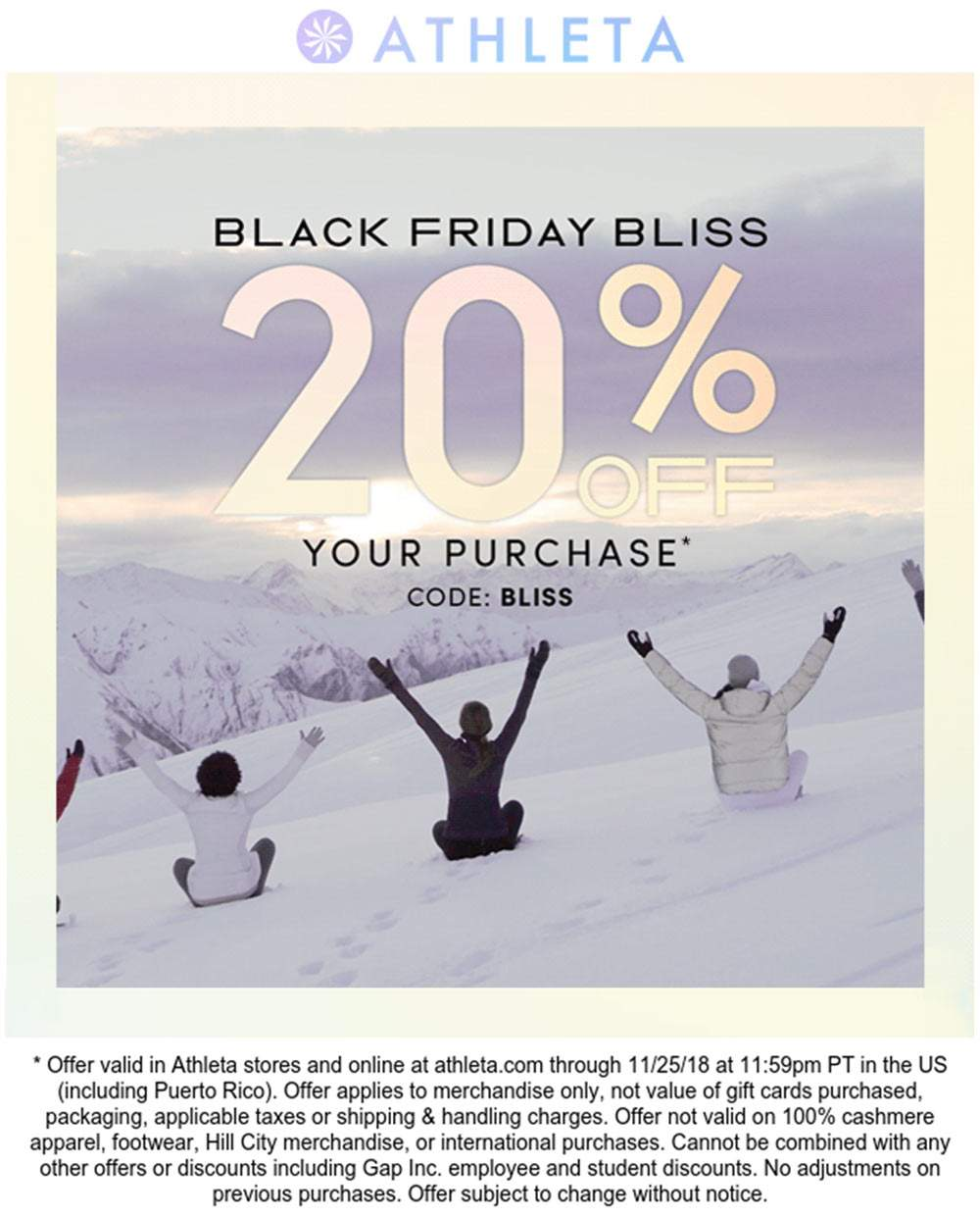 Athleta Coupon November 2019 20% off today at Athleta, or online via promo code BLISS