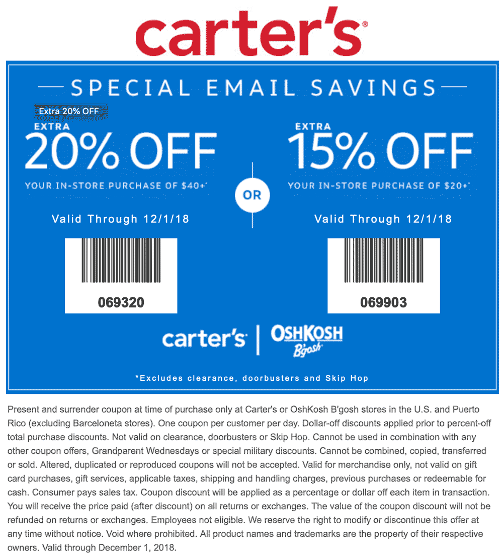 Carters Coupon July 2019 15-20% off $20+ at Carters & OshKosh Bgosh