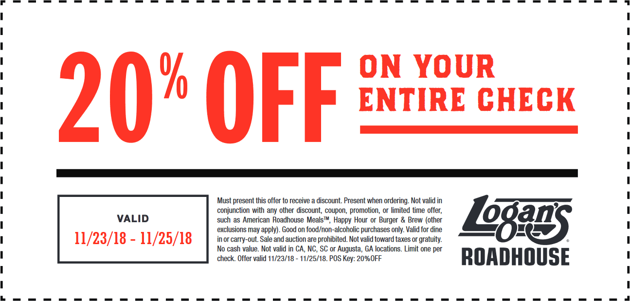 Logans Roadhouse Coupon August 2019 20% off today at Logans Roadhouse restaurants