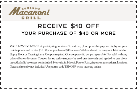 Macaroni Grill Coupon November 2019 $10 off $40 today at Macaroni Grill restaurants