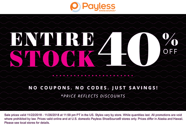Payless Shoesource Coupon November 2019 40% off everything at Payless Shoesource, ditto online