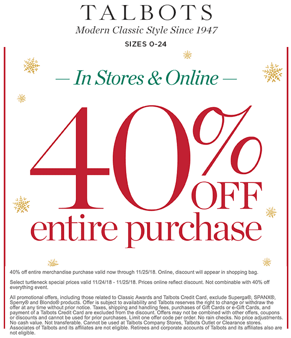 Talbots Coupon November 2019 40% off today at Talbots, ditto online