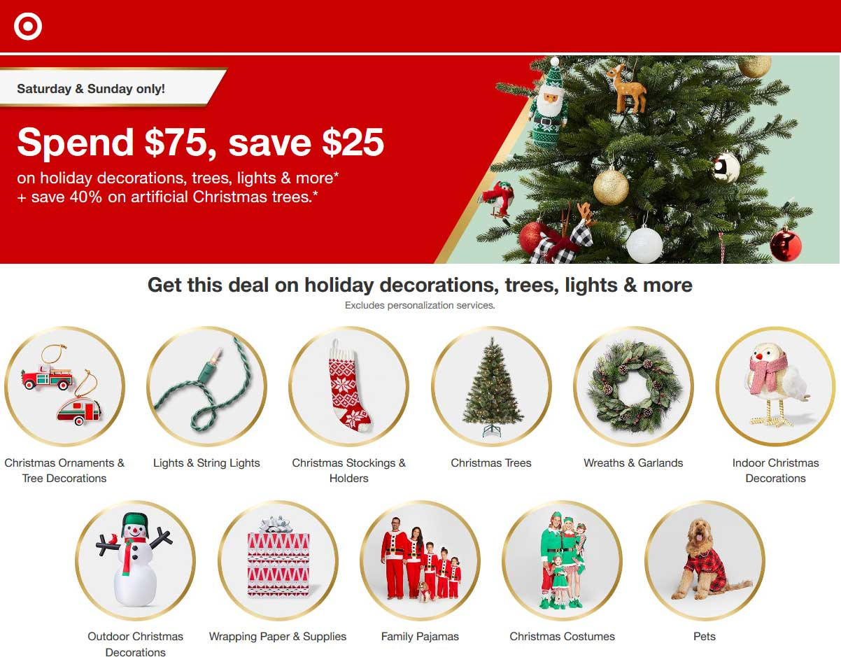 Target.com Promo Coupon $25 off $75 today on holiday decor at Target, ditto online