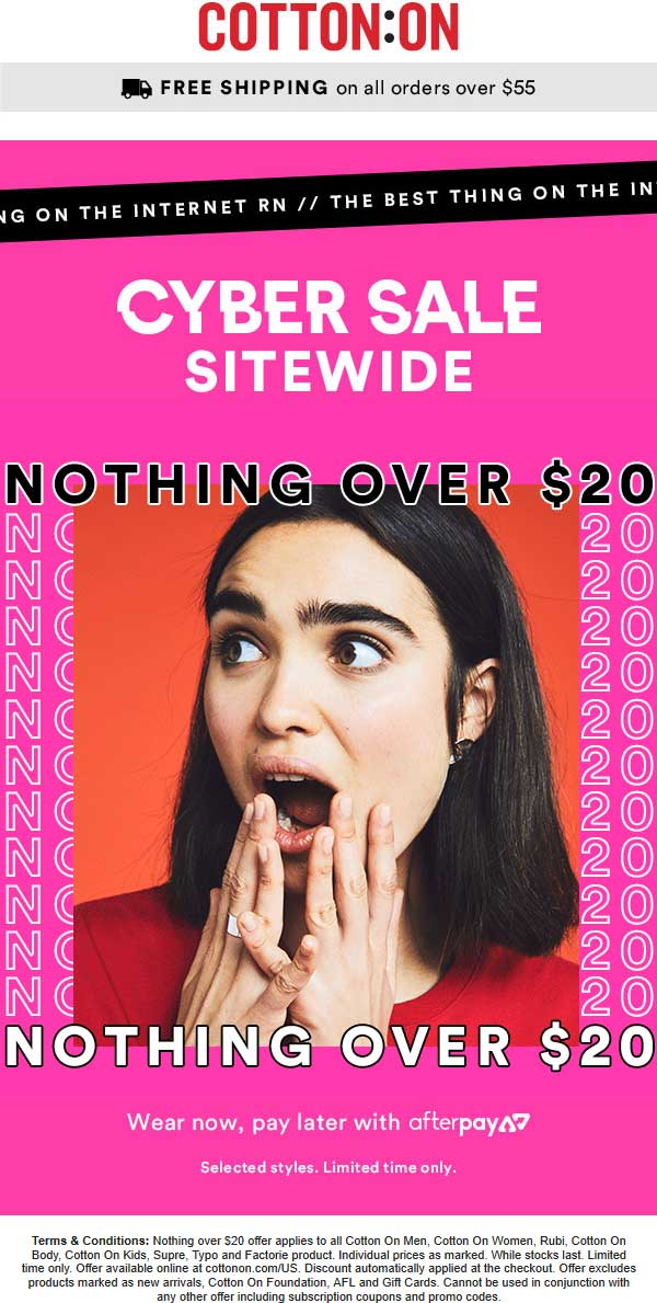 CottonOn.com Promo Coupon Nothing over $20 today online at Cotton On