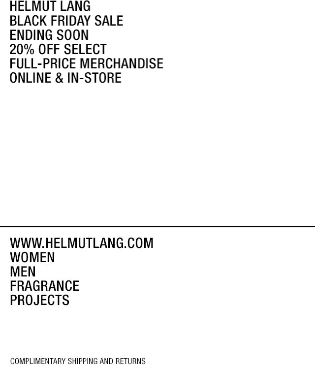 Helmut Lang Coupon December 2019 20% off today at Helmut Lang, ditto online