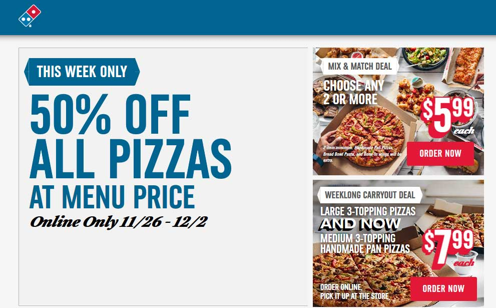 Dominos Coupon May 2019 50% off all pizzas online at Dominos