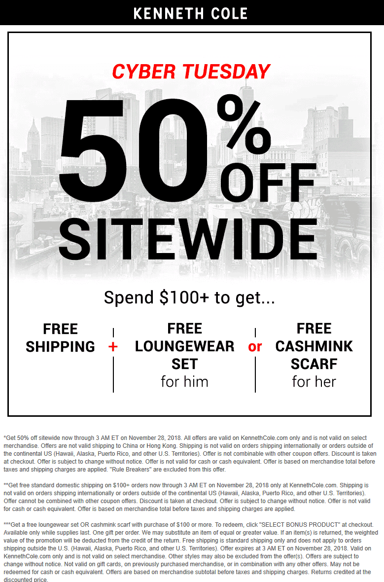Kenneth Cole Coupon September 2019 50% off everything online today at Kenneth Cole