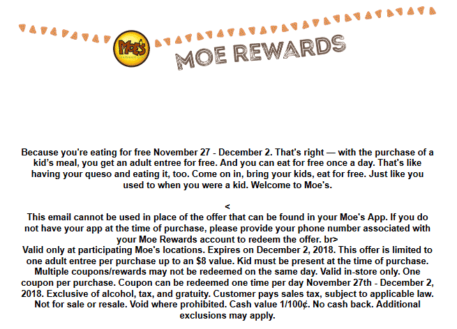 MoesSouthwestGrill.com Promo Coupon Free adult meal with your kids meal daily at Moes Soutwest Grill