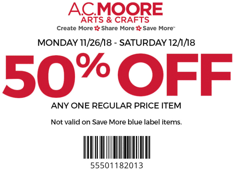A.C. Moore Coupon December 2019 50% off a single item at A.C. Moore