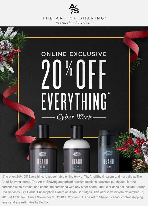 The Art Of Shaving Coupon January 2020 20% off everything online at The Art of Shaving