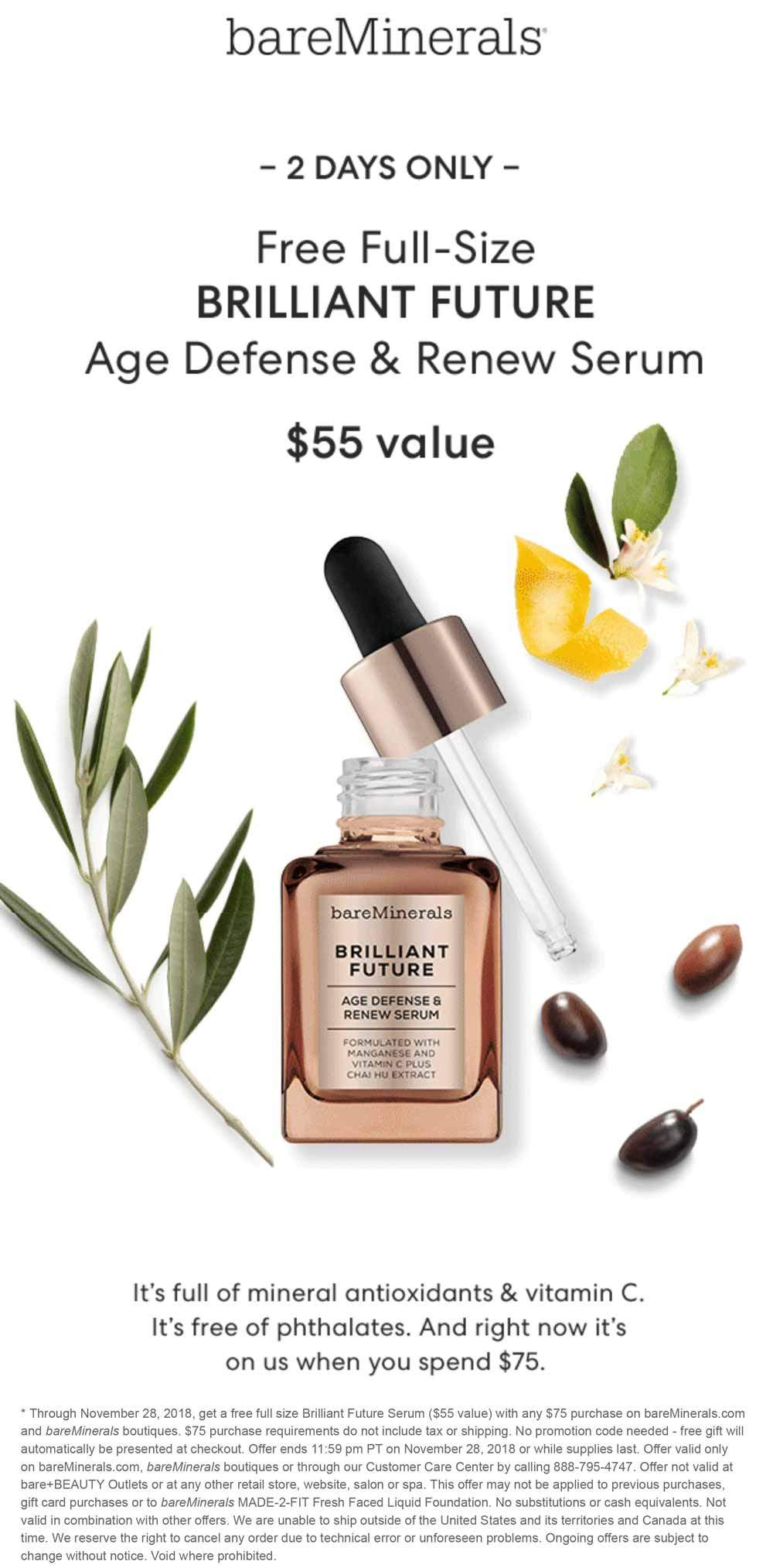 bareMinerals Coupon May 2019 $55 full size free with $75 spent today at bareMinerals, ditto online