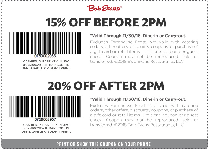 Bob Evans Coupon May 2019 15-20% off at Bob Evans restaurants