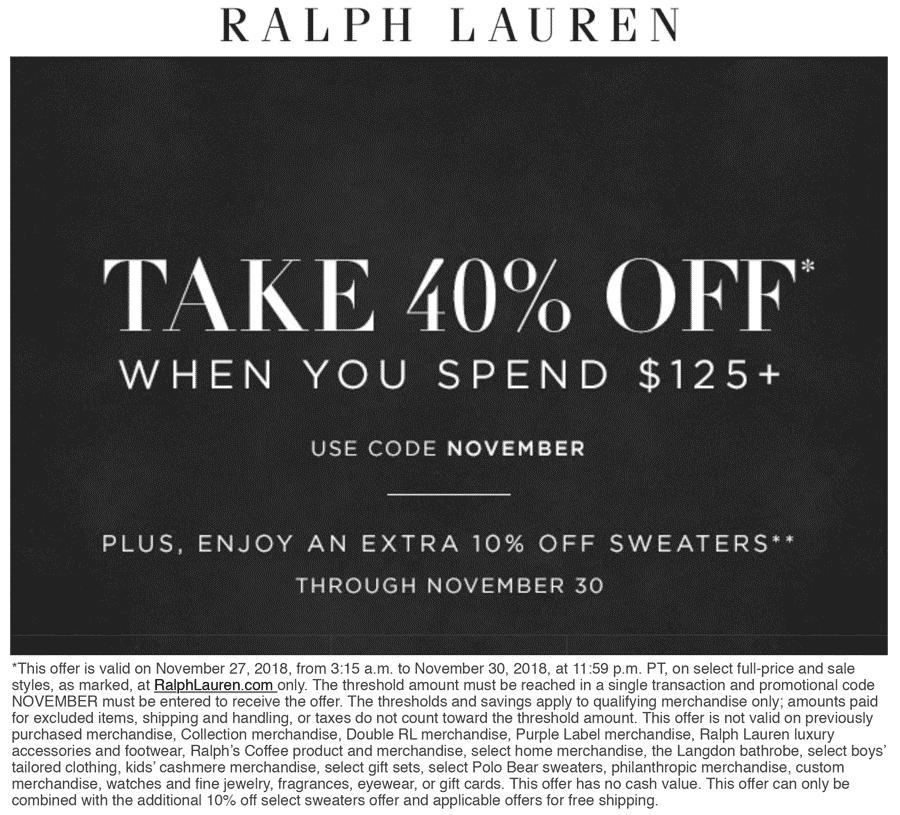 Ralph Lauren Coupon January 2020 40% off $125 online at Ralph Lauren via promo code NOVEMBER