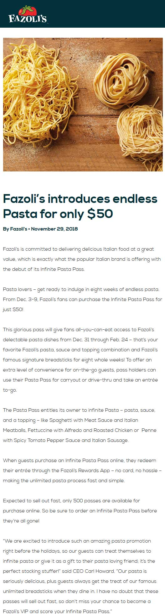 Fazolis.com Promo Coupon Infinite pasta pass for 8wks = $50 at Fazolis restaurants