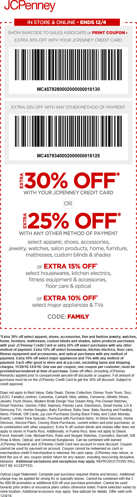 JCPenney.com Promo Coupon 25% off at JCPenney, or online via promo code FAMILY