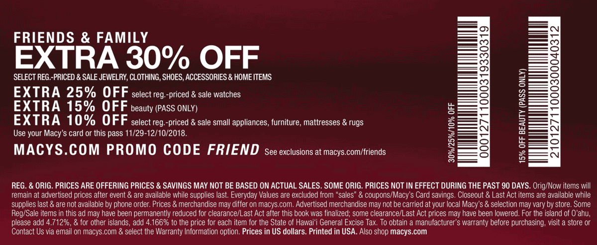 Macys Coupon November 2019 Extra 30% off at Macys, or online via promo code FRIEND