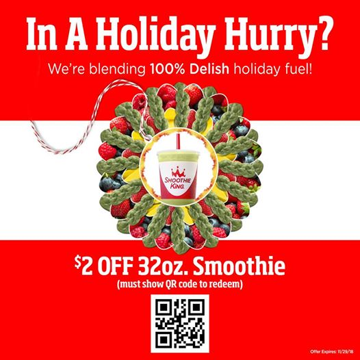 Smoothie King Coupon October 2019 $2 off a smoothie today at Smoothie King