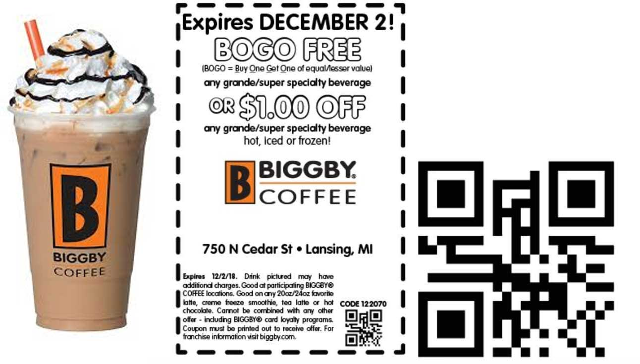 Biggby Coffee Coupon June 2019 Second drink free at Biggby Coffee