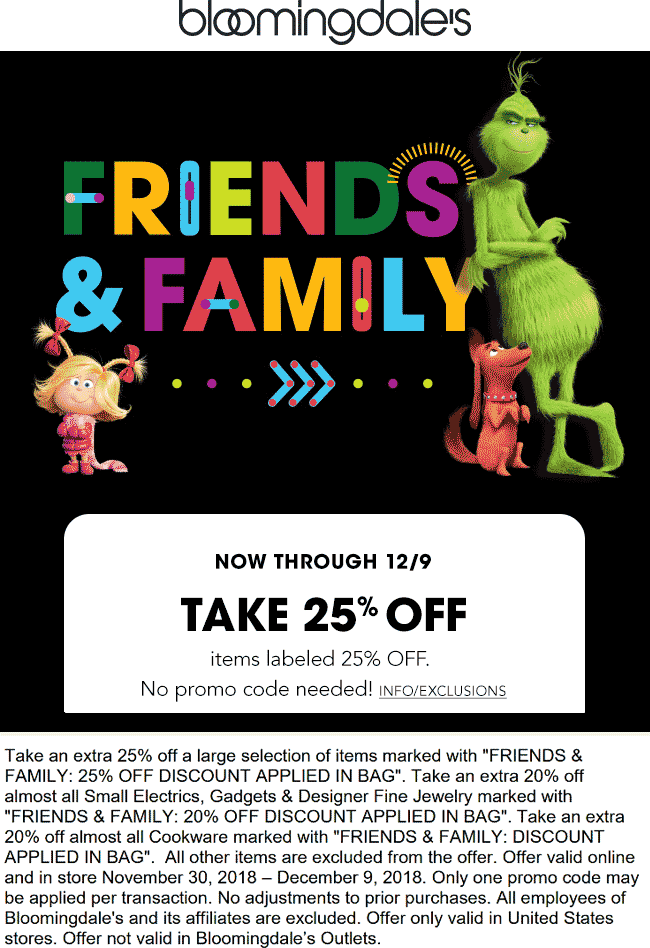 Bloomingdales.com Promo Coupon 25% off at Bloomingdales, ditto online