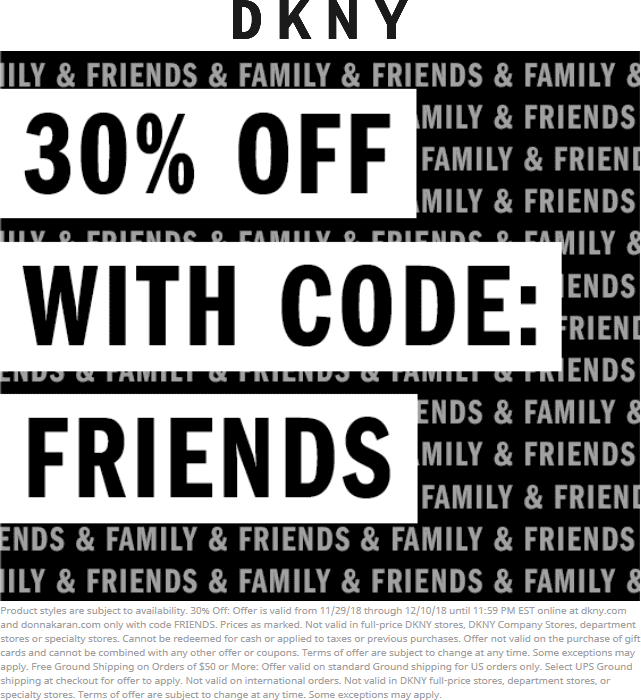 DKNY Coupon May 2019 30% off online at DKNY via promo code FRIENDS