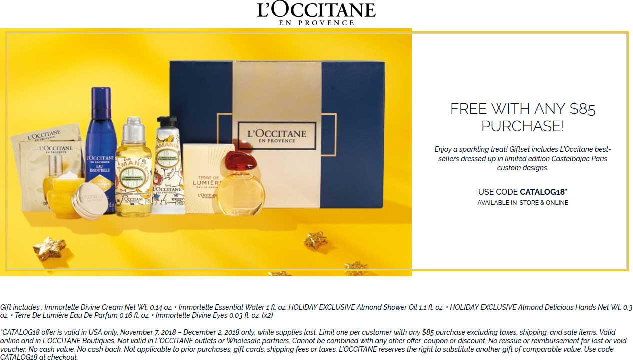 LOccitane Coupon January 2019 Free fragrance pack with $85 spent at LOccitane, or online via promo code CATALOG18