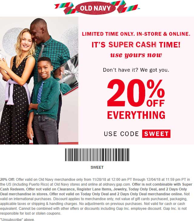 Old Navy Coupon December 2019 20% off everything at Old Navy, or online via promo code SWEET