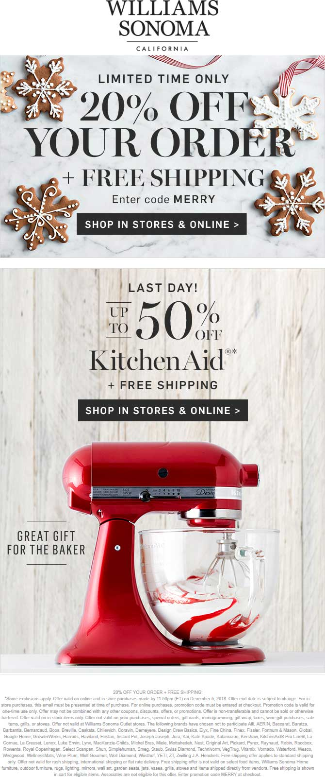 Williams Sonoma Coupon August 2019 20% off at Williams Sonoma, or online via promo code MERRY