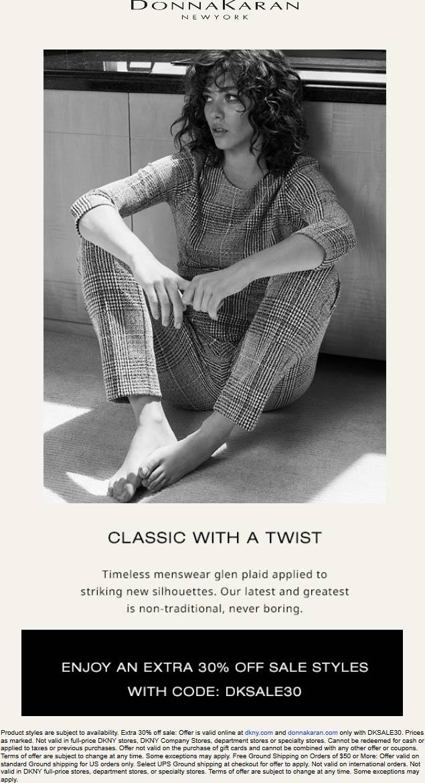 DKNY Coupon January 2020 Extra 30% off sale items online at DKNY & Donna Karan via promo code DKSALE30