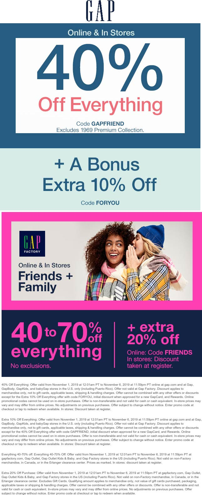 Gap Coupon January 2020 40% off everything at Gap & factory locations, or online via promo code GAPFRIEND