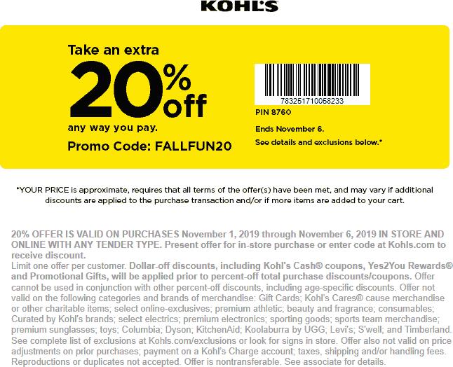 Kohls Coupon November 2019 20% off at Kohls, or online via promo FALLFUN20