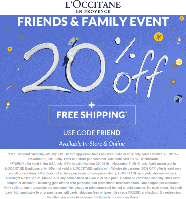 LOccitane Coupon January 2020 20% off at LOccitane, or online via promo code FRIEND