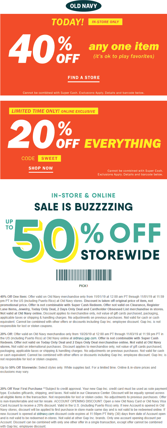Old Navy Coupon January 2020 40% off a single item today at Old Navy, or 20% off everything online via promo code SWEET