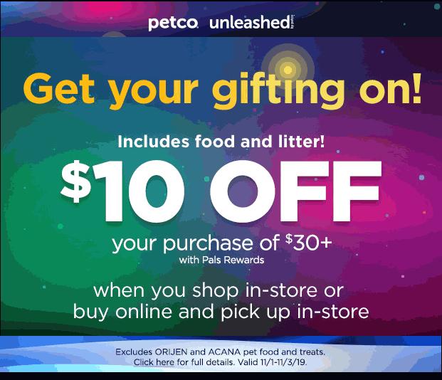Petco Coupon January 2020 $10 off $30 at Petco